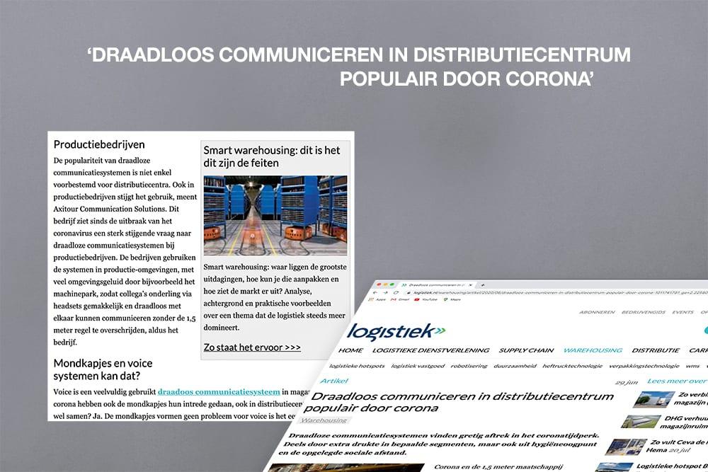 AXIWI vermeld in artikel op Logistiek.nl: Draadloos communiceren in distributiecentrum populair door corona