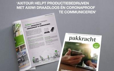 """AXIWI vermeld in Pakkracht: """"Axitour helpt productiebedrijven met AXIWI draadloos en coronaproof te communiceren"""""""