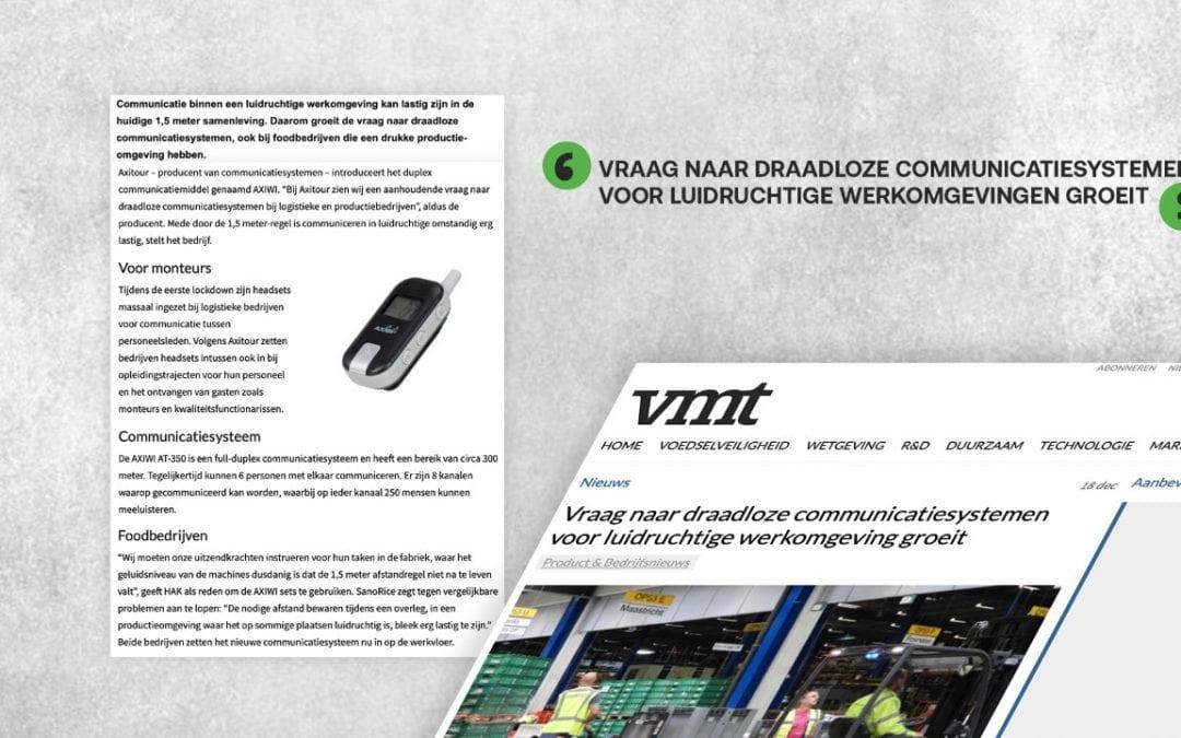 Artikel over mogelijkheden AXIWI  in vakblad voor foodprofessionals VMT: Vraag naar draadloze communicatiesystemen voor luidruchtige werkomgeving groeit